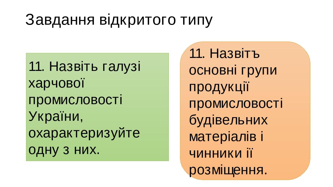 Завдання відкритого типу  11. Назвiть галузi харчової промисловостi України, охарактеризуйте одну з них.  11. Назвiтъ ocнoвнi групи продукцiї про...