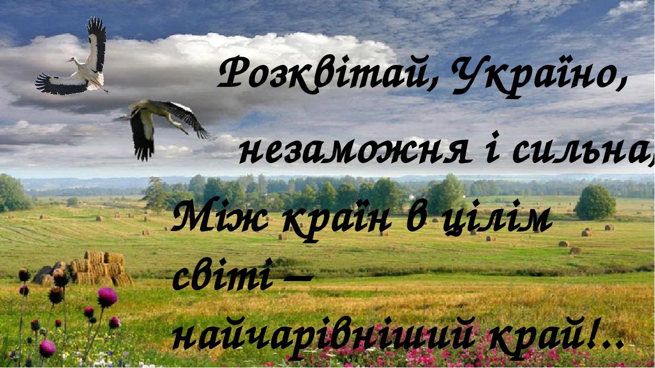 Між країн в цілім світі – найчарівніший край!.. Розквітай, Україно, незаможня і сильна,