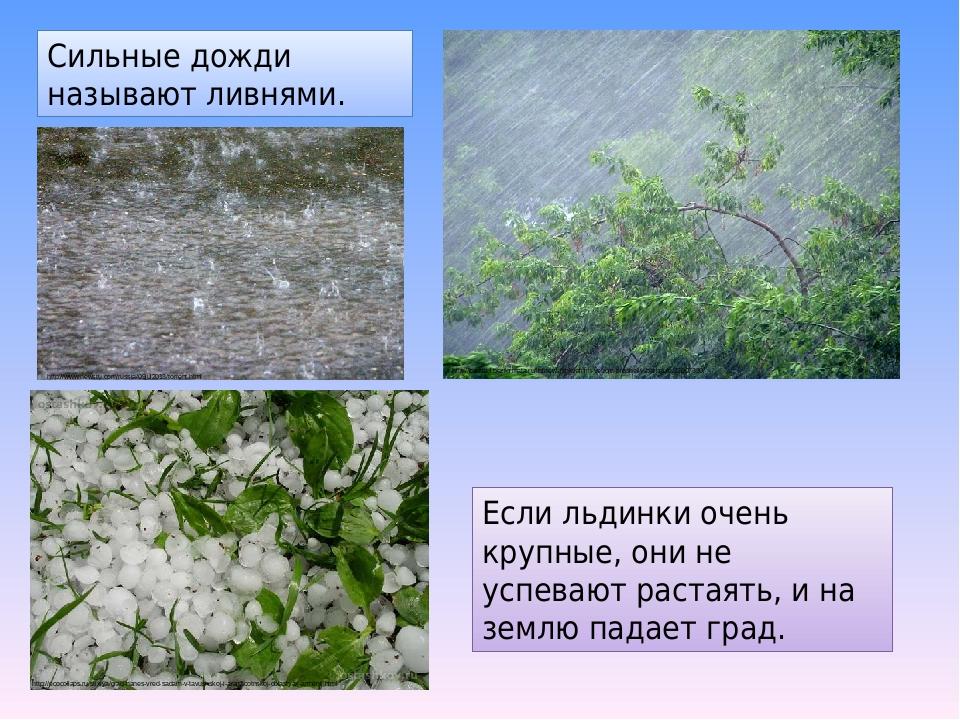 Если льдинки очень крупные, они не успевают растаять, и на землю падает град. Сильные дожди называют ливнями. http://barnaul.bezformata.ru/listnews...