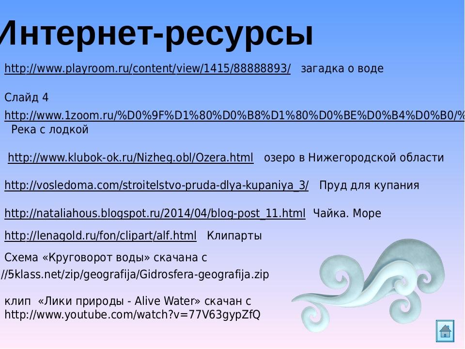Интернет-ресурсы http://www.playroom.ru/content/view/1415/88888893/ загадка о воде Слайд 4 http://www.1zoom.ru/%D0%9F%D1%80%D0%B8%D1%80%D0%BE%D0%B4...