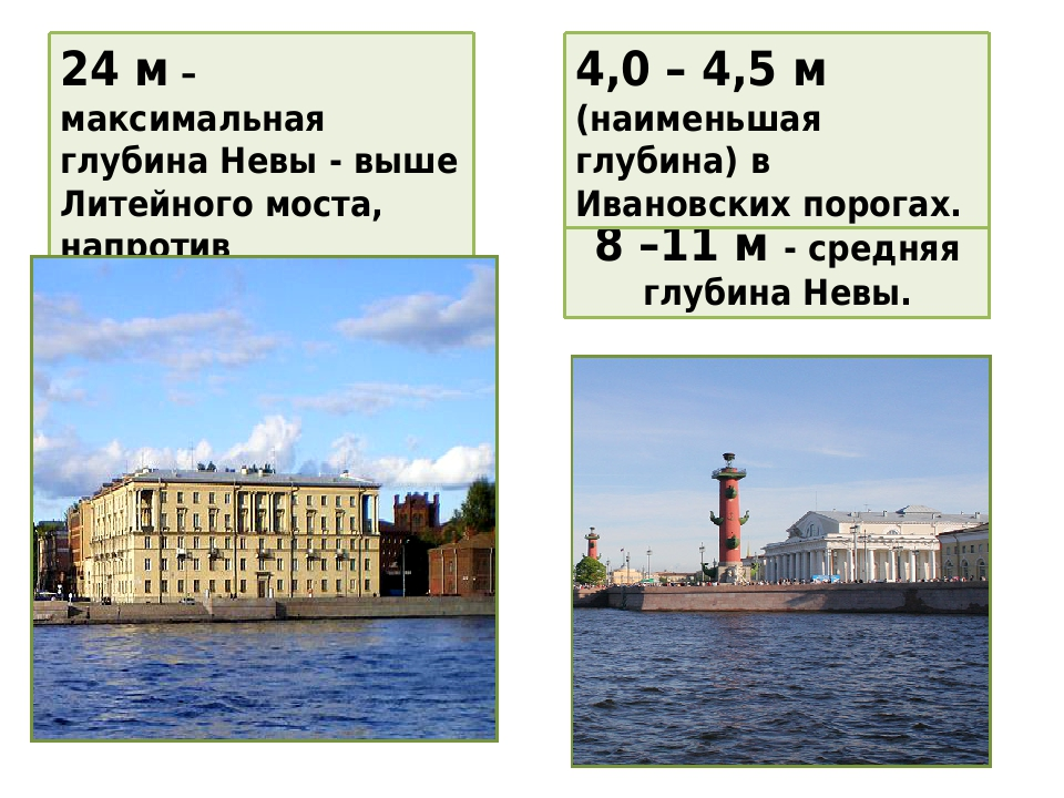 8 –11 м - средняя глубина Невы. 24 м – максимальная глубина Невы - выше Литейного моста, напротив Арсенальной улицы. 4,0 – 4,5 м (наименьшая глубин...