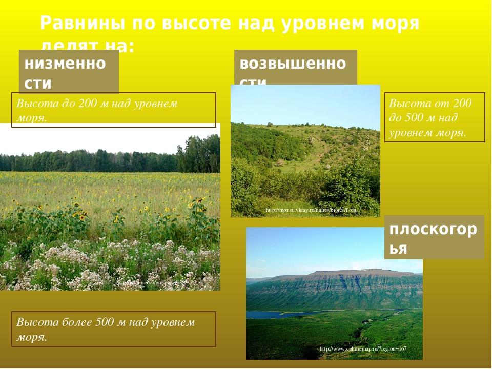 Равнины по высоте над уровнем моря делят на: низменности Высота до 200 м над уровнем моря. http://ponimai.su/cmspage/1882/-------- возвышенности Вы...