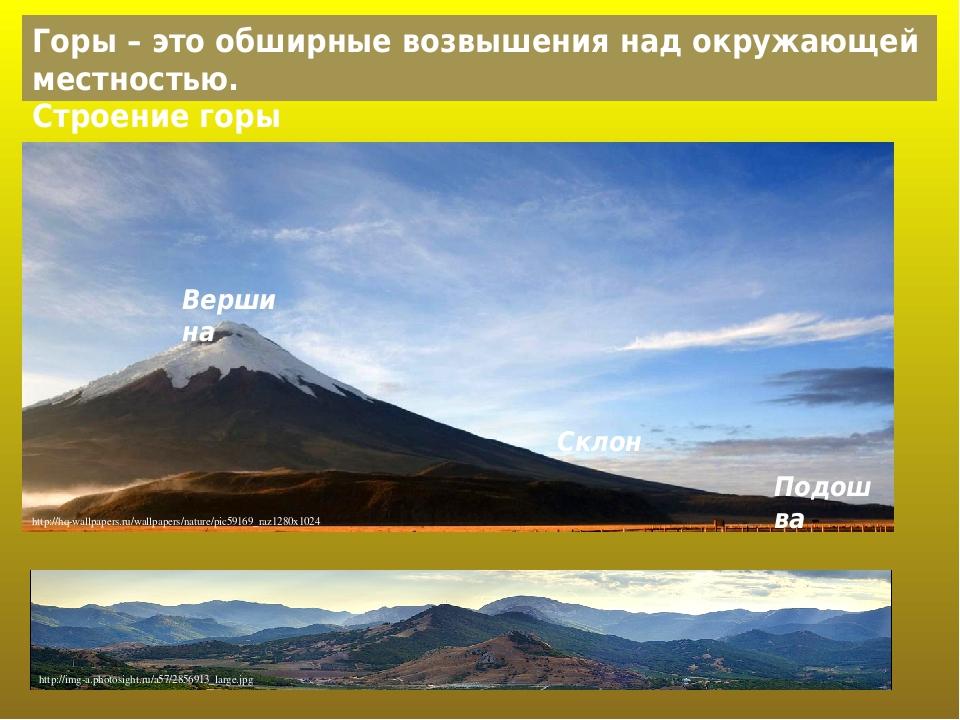 Горы – это обширные возвышения над окружающей местностью. Вершина Склон Подошва Строение горы http://hq-wallpapers.ru/wallpapers/nature/pic59169_ra...