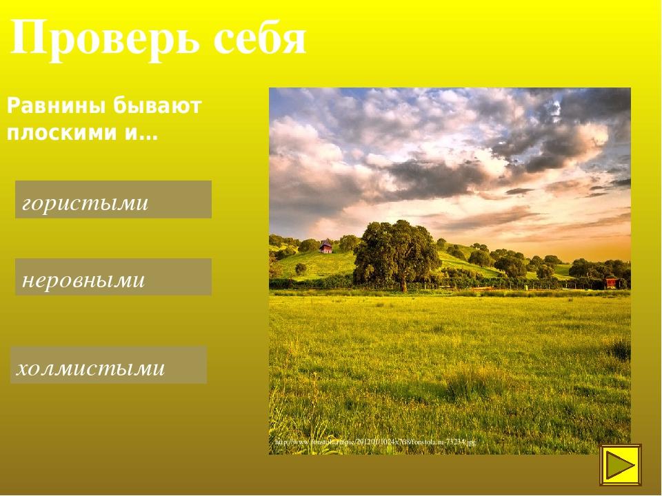 Проверь себя Равнины бывают плоскими и… гористыми холмистыми неровными http://www.fonstola.ru/pic/201201/1024x768/fonstola.ru-73234.jpg