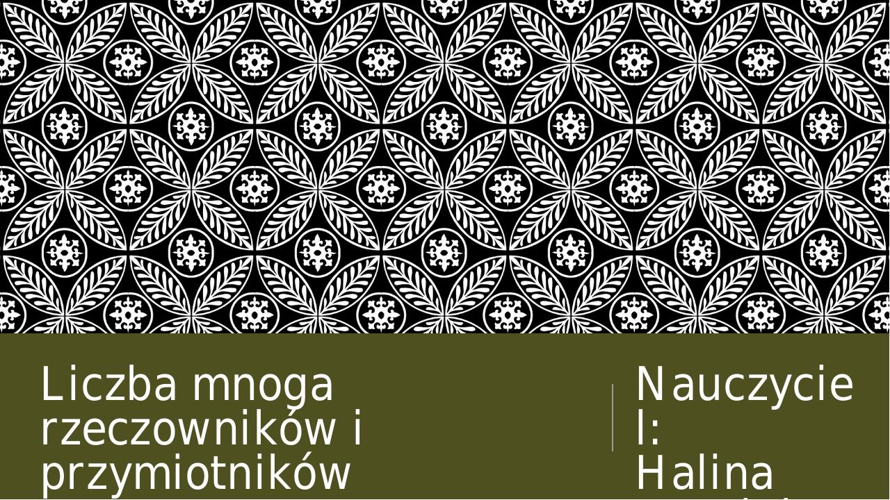 Liczba mnoga rzeczowników i przymiotników Nauczyciel: Halina Hnatiuk