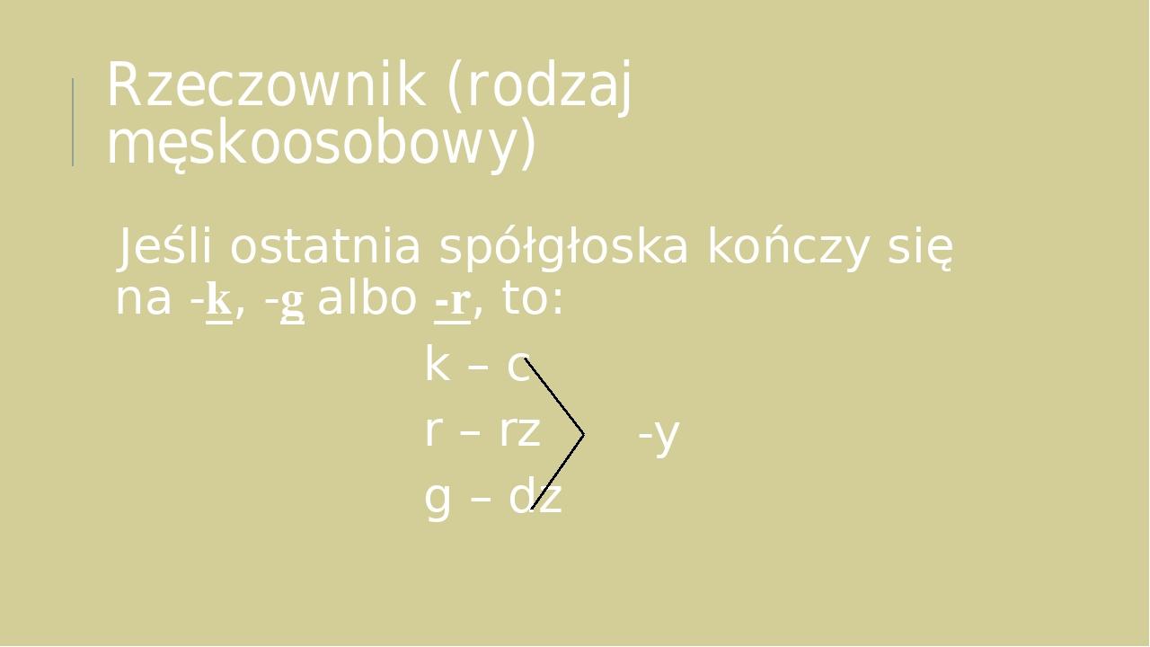Rzeczownik (rodzaj męskoosobowy) Jeśli ostatnia spółgłoska kończy się na -k, -g albo -r, to: k – c r – rz g – dz -y