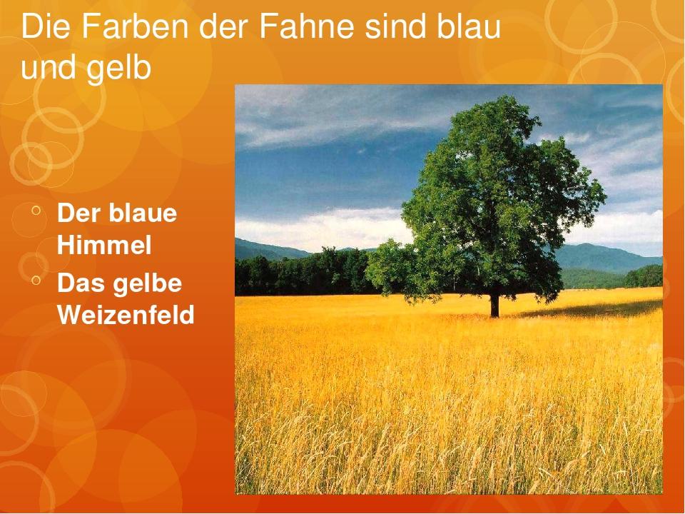 Der blaue Himmel Das gelbe Weizenfeld Die Farben der Fahne sind blau und gelb