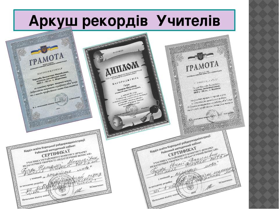 Аркуш рекордів Учителів