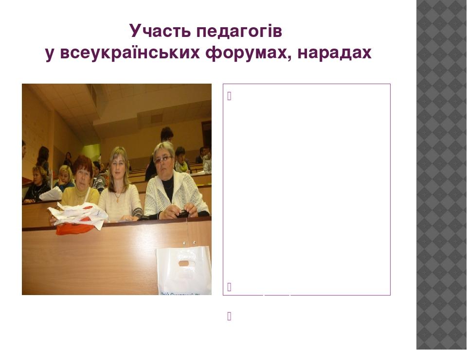Участь педагогів у всеукраїнських форумах, нарадах 17 жовтня 2013 року відбувся Всеукраїнський форум учителів іноземних мов. Участь в роботі форуму...