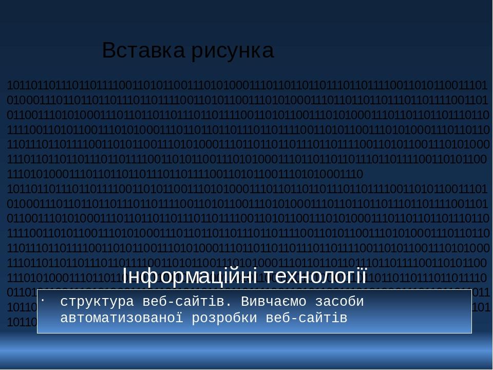Інформаційні технології структура веб-сайтів. Вивчаємо засоби автоматизованої розробки веб-сайтів 1011011011101101111001101011001110101000111011011...