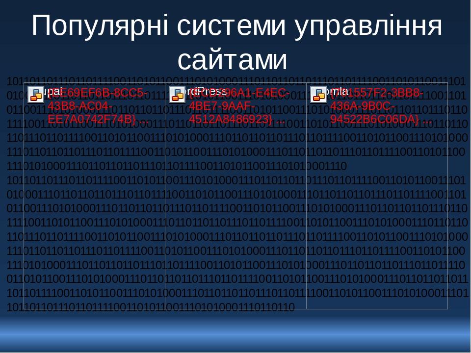 Популярні системи управління сайтами 10110110111011011110011010110011101010001110110110110111011011110011010110011101010001110110110110111011011110...