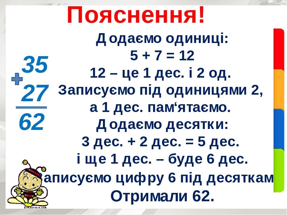 Додаємо одиниці: 5 + 7 = 12 12 – це 1 дес. і 2 од. Записуємо під одиницями 2, а 1 дес. пам'ятаємо. Додаємо десятки: 3 дес. + 2 дес. = 5 дес. і ще 1...