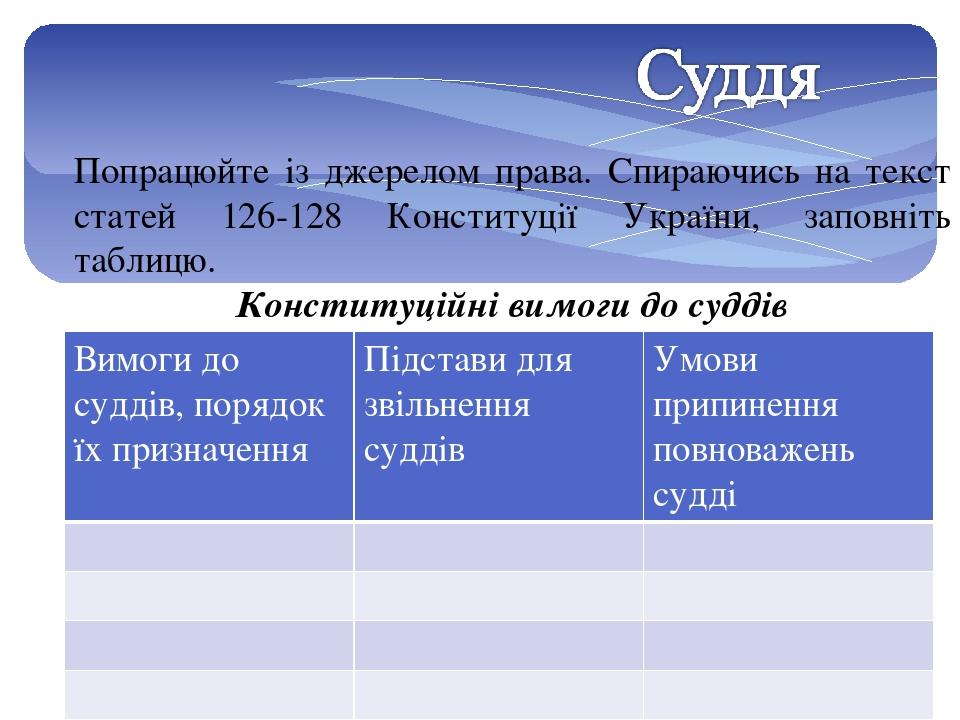 Попрацюйте із джерелом права. Спираючись на текст статей 126-128 Конституції України, заповніть таблицю. Конституційні вимоги до суддів Вимоги до с...