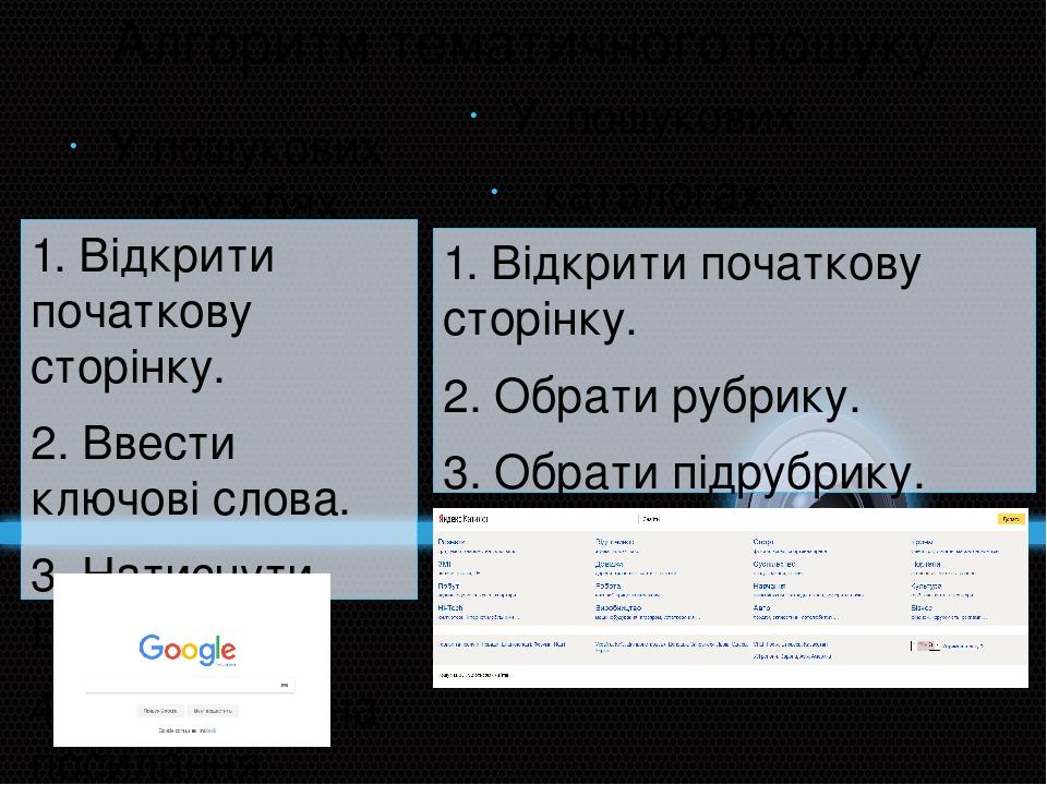 Алгоритм тематичного пошуку У пошукових службах Інтернету: 1. Відкрити початкову сторінку. 2. Ввести ключові слова. 3. Натиснути Enter. 4. Натиснут...