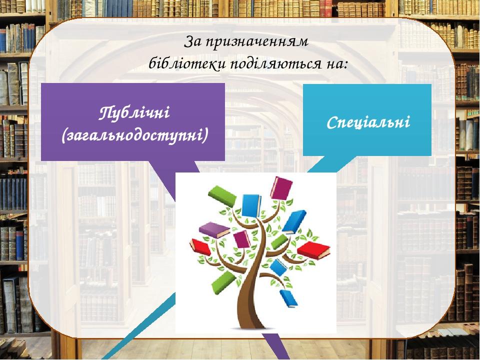 За призначенням бібліотеки поділяються на: Публічні (загальнодоступні) Спеціальні
