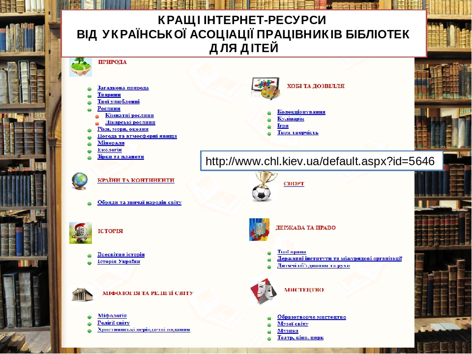 http://www.chl.kiev.ua/default.aspx?id=5646 КРАЩІ ІНТЕРНЕТ-РЕСУРСИ ВІД УКРАЇНСЬКОЇ АСОЦІАЦІЇ ПРАЦІВНИКІВ БІБЛІОТЕК ДЛЯ ДІТЕЙ