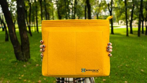 Зображення товару: Ексклюзивна жовта фетрова сумка з подарунком у середині 🎁