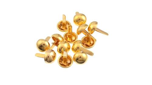Зображення товару: Брадси круглі міцні 12х20 мм, золотого кольору – 14 штук