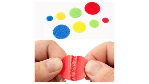Зображення товару: Липучки круглі на клейовій основі, жовтого кольору. 20 мм – 100 пар.