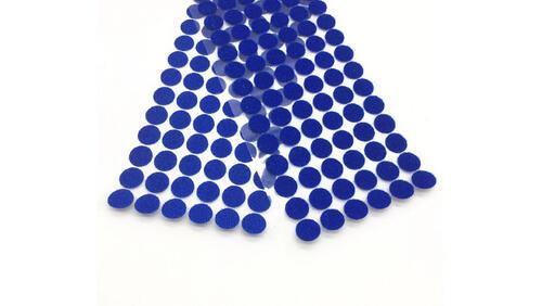Зображення товару: Липучки круглі на клейовій основі, синього кольору. 15 мм – 100 пар.