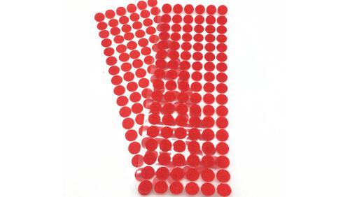 Зображення товару: Липучки круглі на клейовій основі, червоного кольору. 15 мм – 100 пар.
