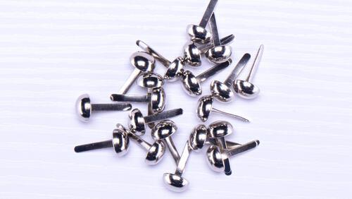 Зображення товару: Брадси круглі міцні 6х12 мм, сріблястого кольору – 20 штук