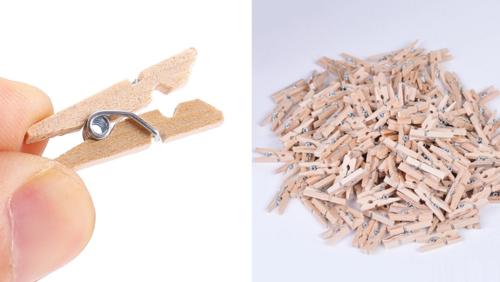 Зображення товару: Набір дерев'яних прищіпок 25 мм, натуральний колір – 30 штук.