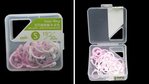 Зображення товару: Кільце пластикове 15 мм – 30 штук, рожевий з білим