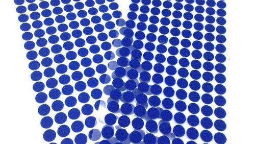 Зображення товару: Липучки круглі на клейовій основі, синього кольору. 10 мм – 99 пар.
