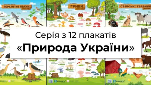 Зображення товару: Серія з 12 плакатів «Природа України»