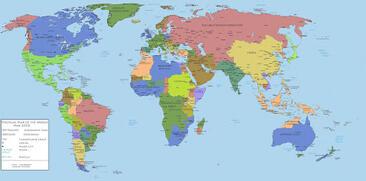 Карта мира со странами и столицами